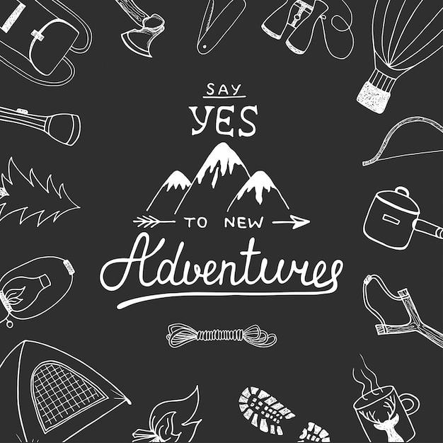 Sagen sie ja zu neuen abenteuern mit camping-kritzeleien Premium Vektoren