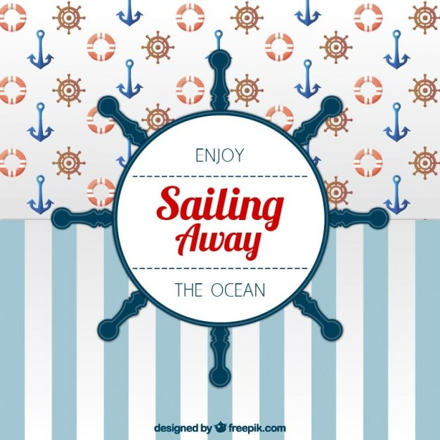 Sailor hintergrund mit einem ruder Kostenlosen Vektoren