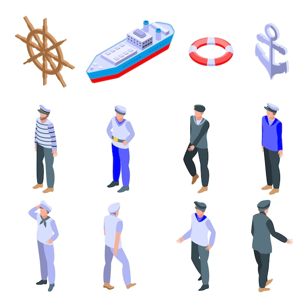 Sailor icons set Premium Vektoren