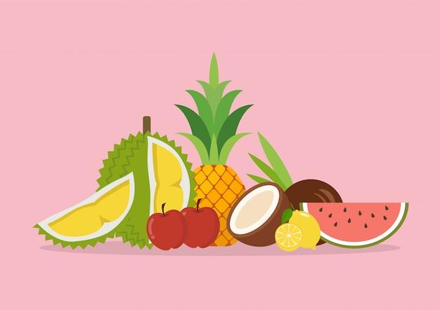 Saisonale exotische bio-früchte Premium Vektoren