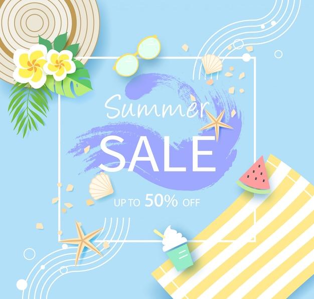 Saisonale sommerschlussverkauf banner, bis zu 50% rabatt Premium Vektoren
