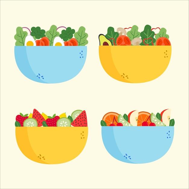 Salat- und obstschalen-sammlung Kostenlosen Vektoren