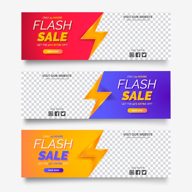 Sale banner vorlagen mit platz für foto Kostenlosen Vektoren