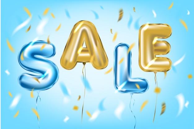 Sale poster von metallischen folienballons in der luft Premium Vektoren