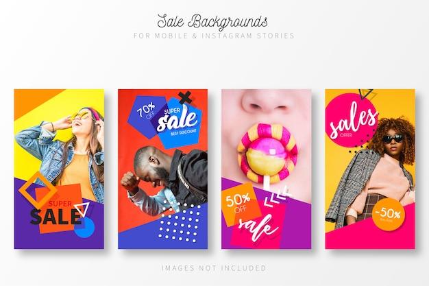 Sale story collection mit modernen farben Kostenlosen Vektoren