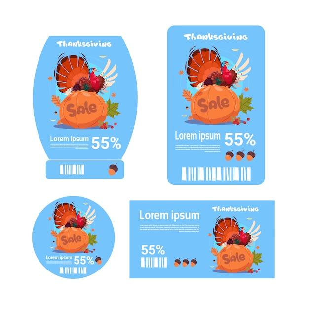 Sale thanksgiving day tags set herbst rabatt preis promotion kollektion Premium Vektoren