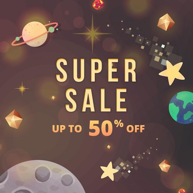Sales banner space theme kostenlos Premium Vektoren
