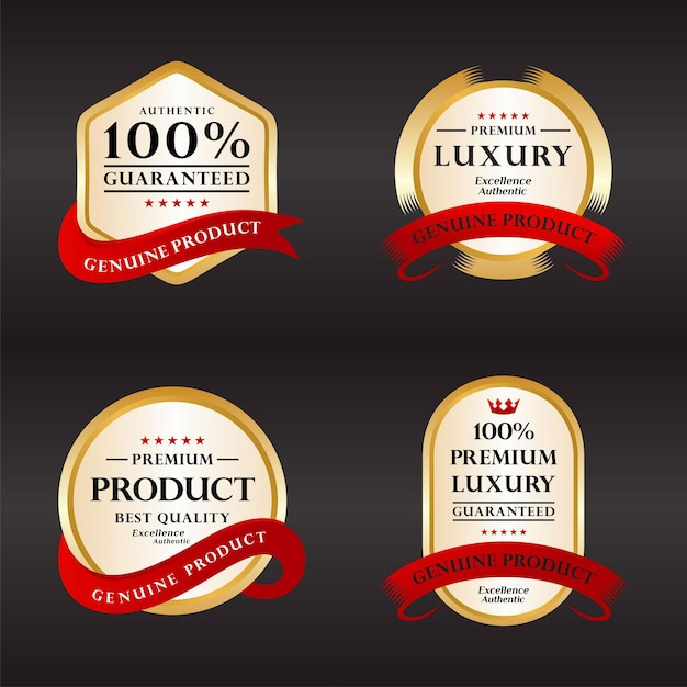 Sammlung 100% zufriedenheitsgarantie zertifizierungsabzeichen in gold und silber Premium Vektoren