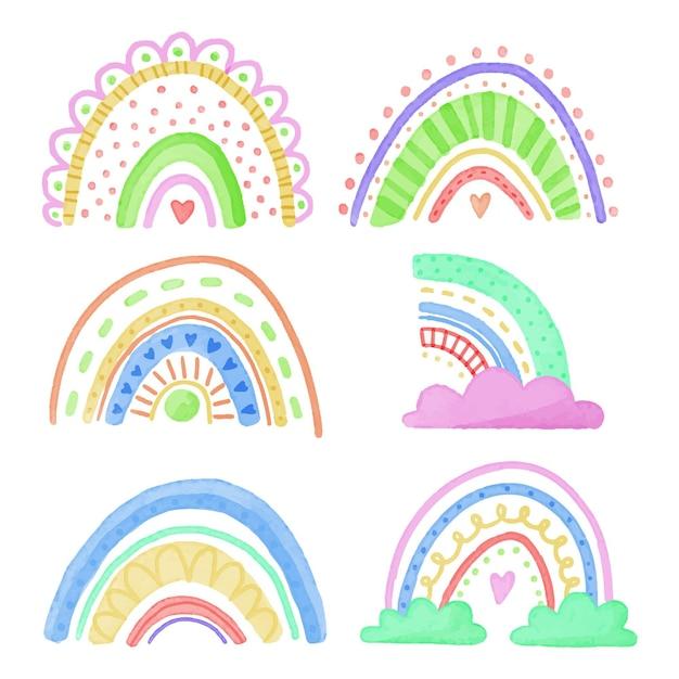 Sammlung abstrakter bunter regenbogen mit wolken Kostenlosen Vektoren