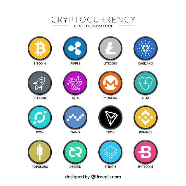 Sammlung bunte cryptocurrency münzen Kostenlosen Vektoren
