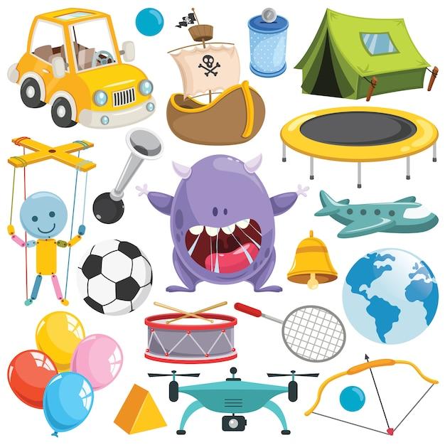 Sammlung bunte spielwaren und gegenstände Premium Vektoren