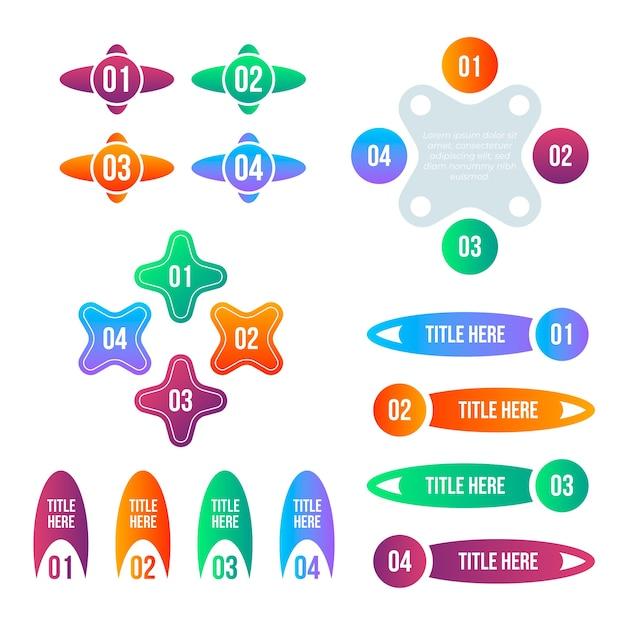 Sammlung bunter farbverlaufs-infografikelemente Kostenlosen Vektoren