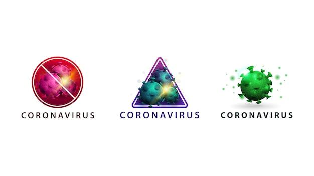 Sammlung coronavirus isoliert, warnzeichen mit molekülen, rosa, blau und grün coronavirus-moleküle Premium Vektoren