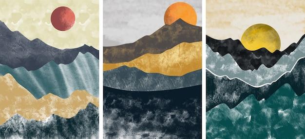 Sammlung der abstrakten berglandschaft Premium Vektoren