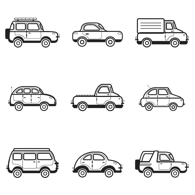 Sammlung der auto- und lkw-abbildung Kostenlosen Vektoren