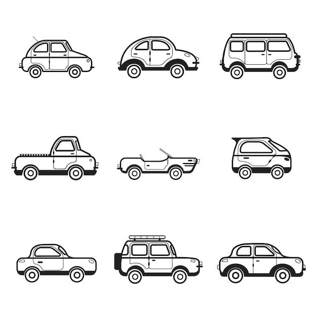 Sammlung der auto- und lkw-illustration Kostenlosen Vektoren