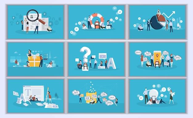 Sammlung der flachen designillustration Premium Vektoren