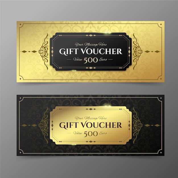 Sammlung der goldenen geschenkgutscheinschablone Kostenlosen Vektoren