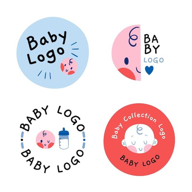 Sammlung der kreisförmigen logo-vorlage des babys Kostenlosen Vektoren