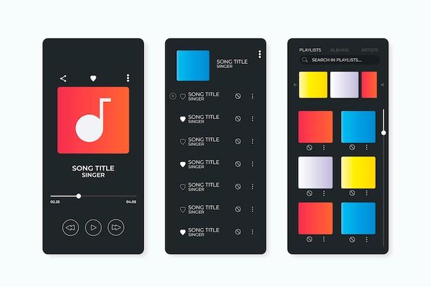 Sammlung der musik-player-app-oberfläche | Kostenlose Vektor