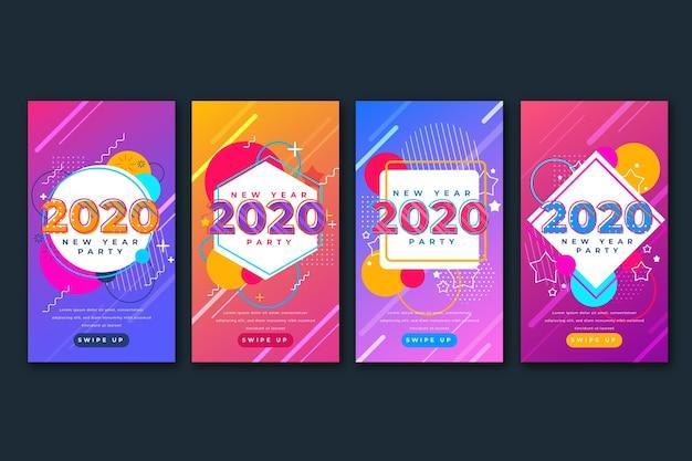 Sammlung der partei instagram geschichte des neuen jahres 2020 Kostenlosen Vektoren