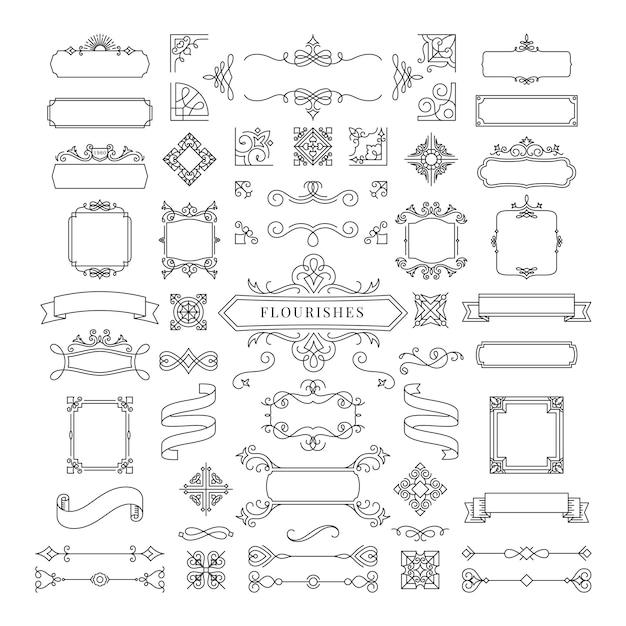 Sammlung der weinlese ornament-rahmenillustration Kostenlosen Vektoren