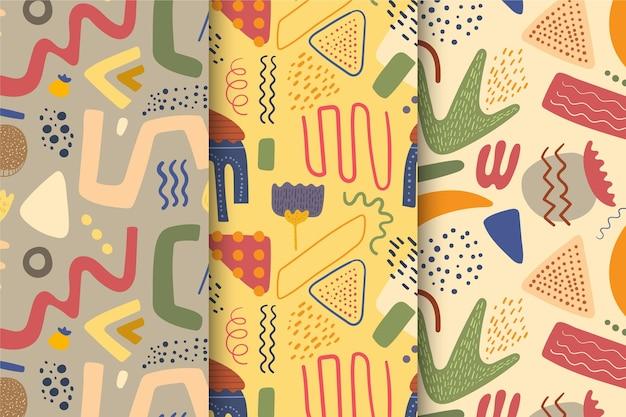 Sammlung des abstrakten handgezeichneten musters Kostenlosen Vektoren