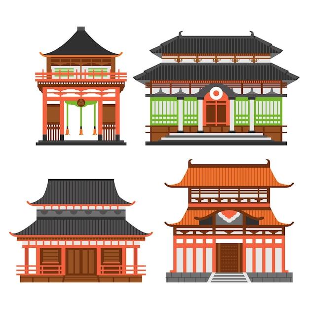 Sammlung des architektonischen japanischen tempels Kostenlosen Vektoren