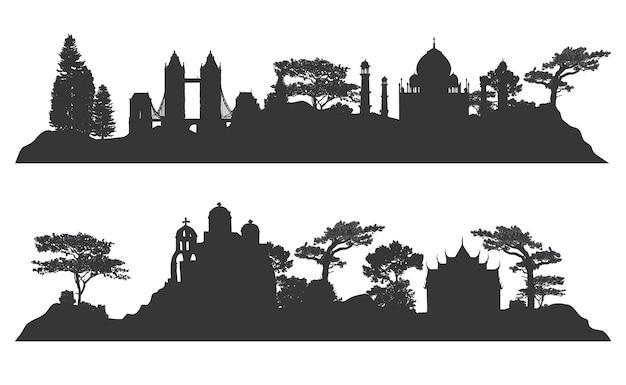 Sammlung des architekturgrenzsteinvektors Kostenlosen Vektoren