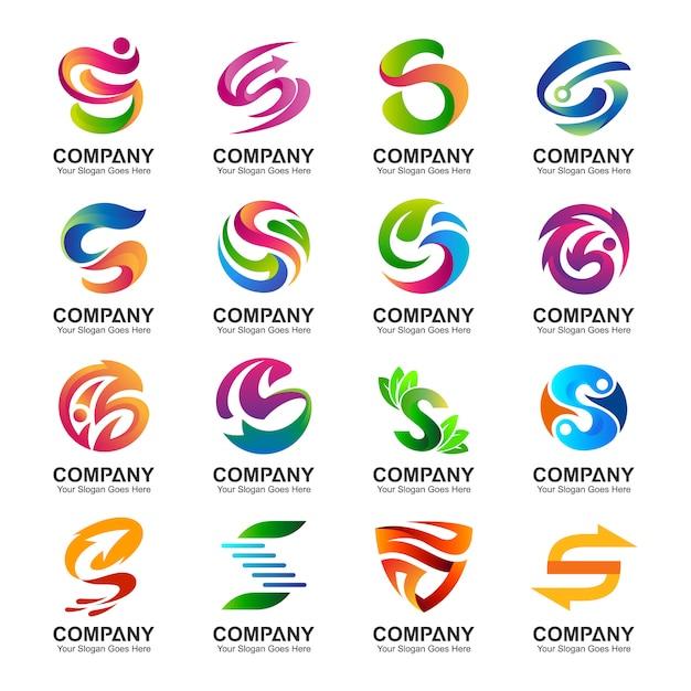 Sammlung des buchstaben s logo in verschiedenen variationen Premium Vektoren