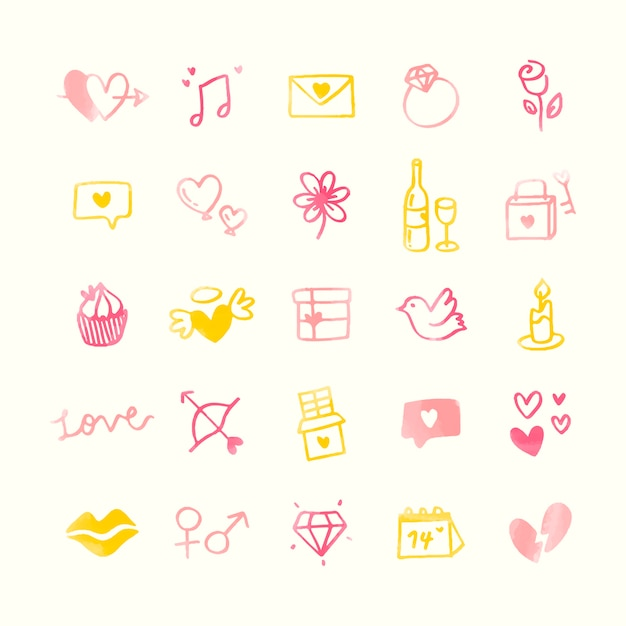 Sammlung des erläuterten valentinsgrußes Kostenlosen Vektoren