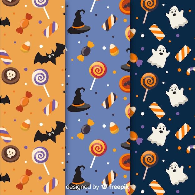 Sammlung des flachen designmusters halloweens Kostenlosen Vektoren