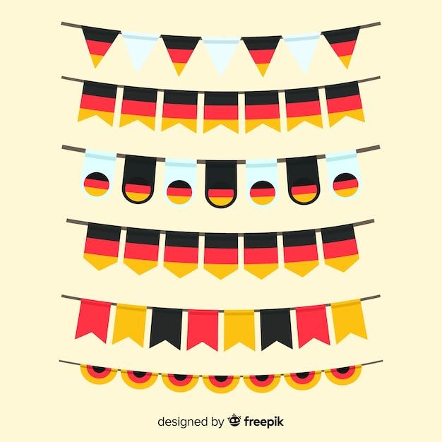 Sammlung des flachen designs der oktoberfestgirlande Kostenlosen Vektoren