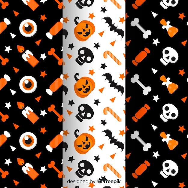 Sammlung des flachen halloween-musters Kostenlosen Vektoren