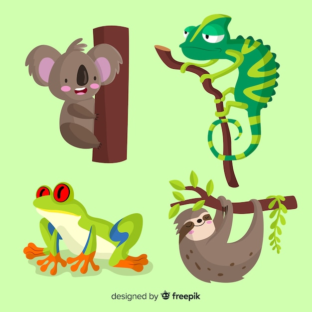 Sammlung des flachen tropischen tieres Kostenlosen Vektoren