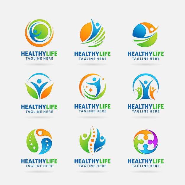 Sammlung des gesunden lebenlogodesigns Premium Vektoren