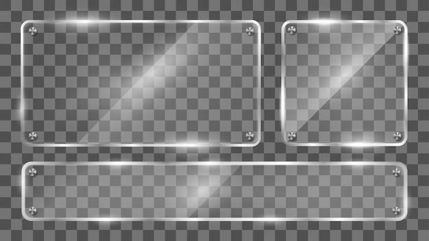Sammlung des glasrahmens, reflektierende glasfahne. Premium Vektoren