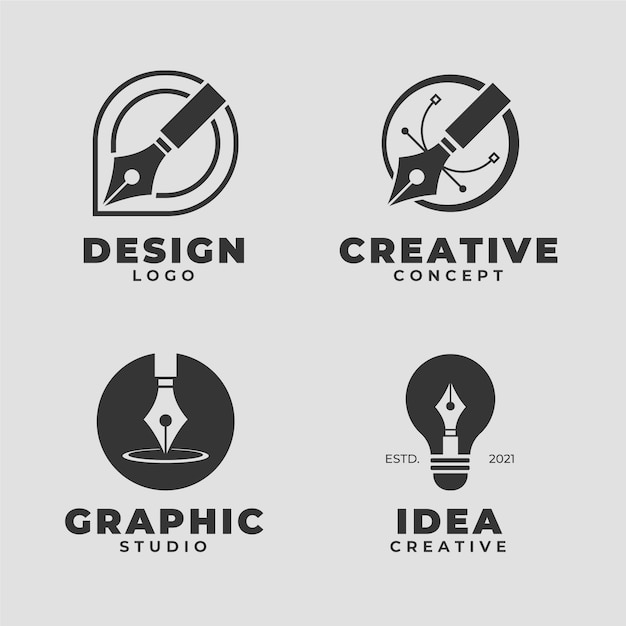 Sammlung des minimalistischen flachen design-grafikdesigner-logos Premium Vektoren