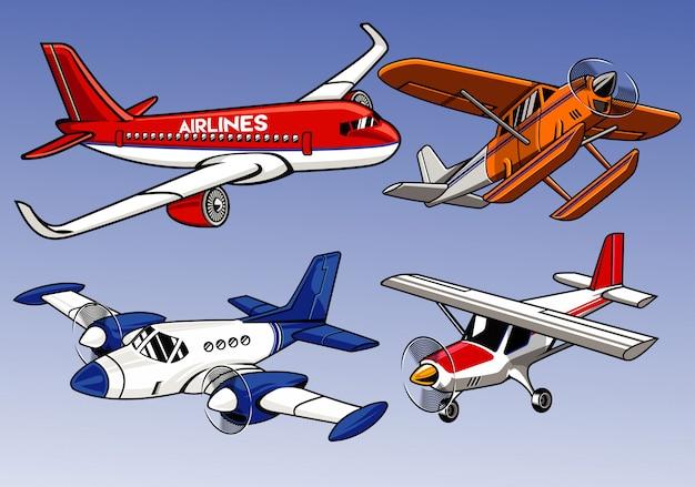 Sammlung des modernen flugzeuges gefärbt Premium Vektoren