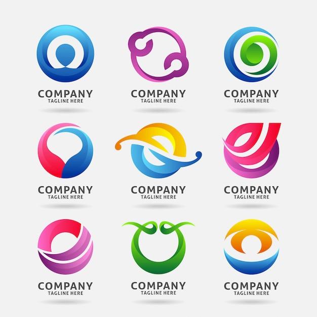 Sammlung des modernen logodesigns des buchstaben o Premium Vektoren