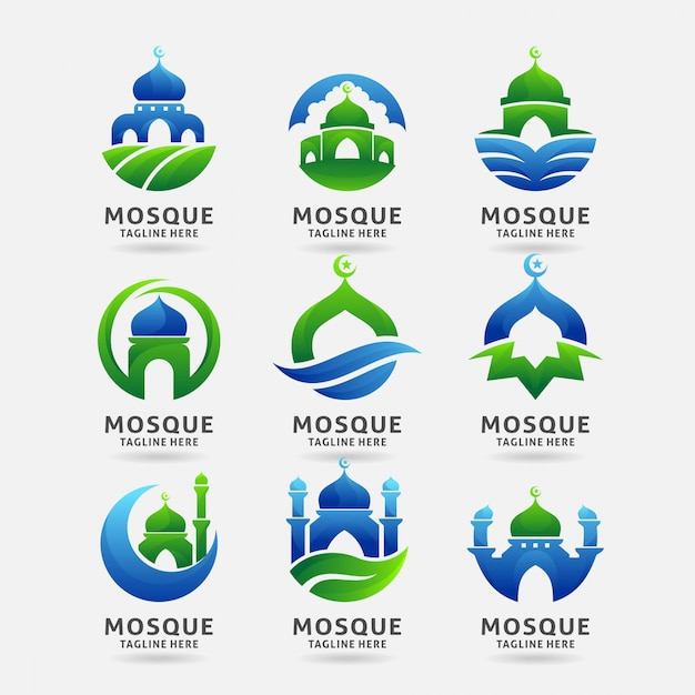 Sammlung des moscheenlogodesigns Premium Vektoren