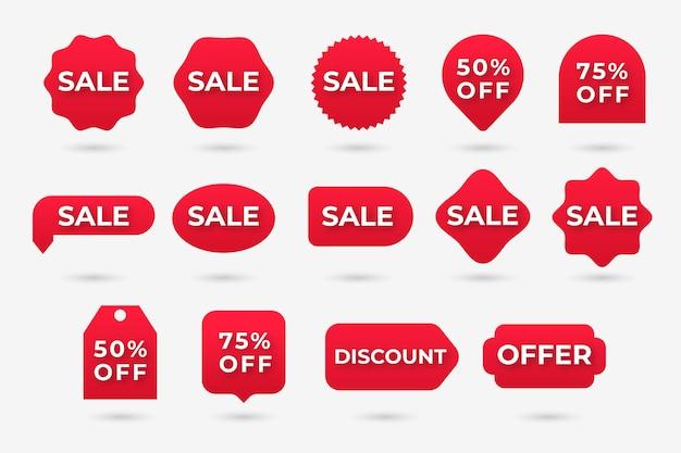 Sammlung des roten verkaufsaufklebers Kostenlosen Vektoren