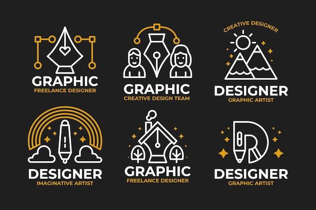 Sammlung des umrissenen grafikdesigners des flachen designs Premium Vektoren