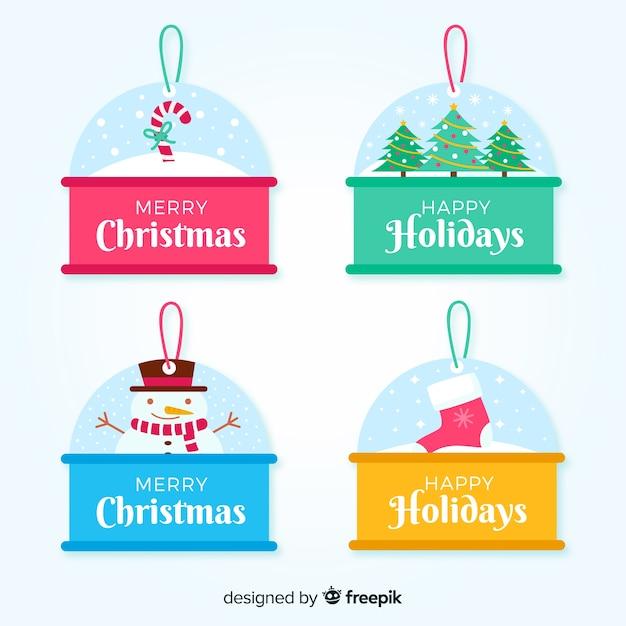 Sammlung des weihnachtsaufklebers im flachen design Kostenlosen Vektoren