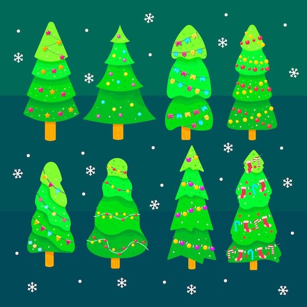 Sammlung des weihnachtsbaums im flachen design Kostenlosen Vektoren