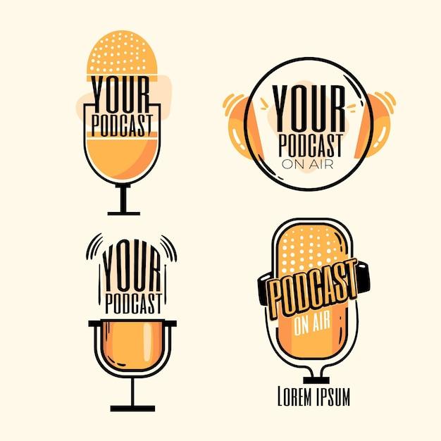 Sammlung detaillierter podcast-logos Kostenlosen Vektoren
