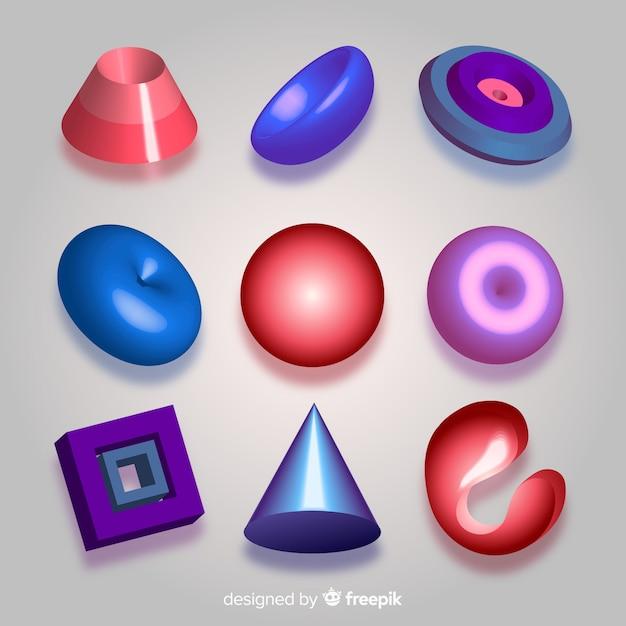 Sammlung dreidimensionaler geometrischer formen Kostenlosen Vektoren