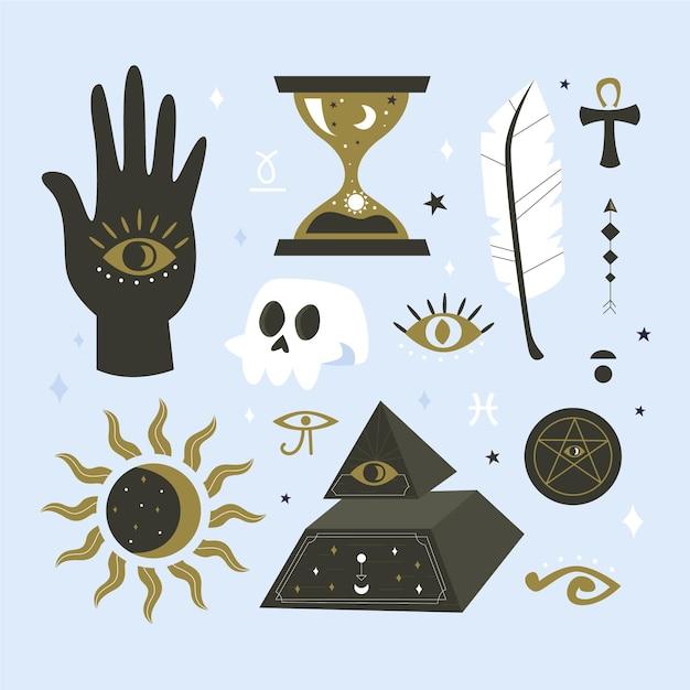 Sammlung esoterischer elemente Kostenlosen Vektoren