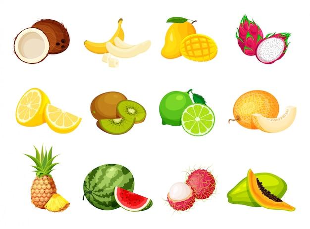 Sammlung exotischer tropischer früchte im trendigen cartoon-stil. veganer lebensmittelvektor isoliert. ganz frisch, halb, scheibe und stück obst schneiden. Premium Vektoren