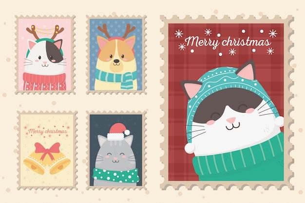 Sammlung feier frohe weihnachten briefmarken Premium Vektoren